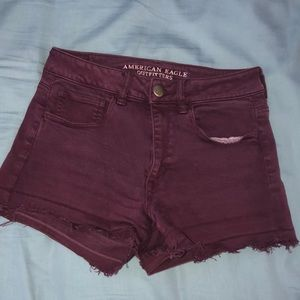 American Eagle Burgundy Jegging Shorts
